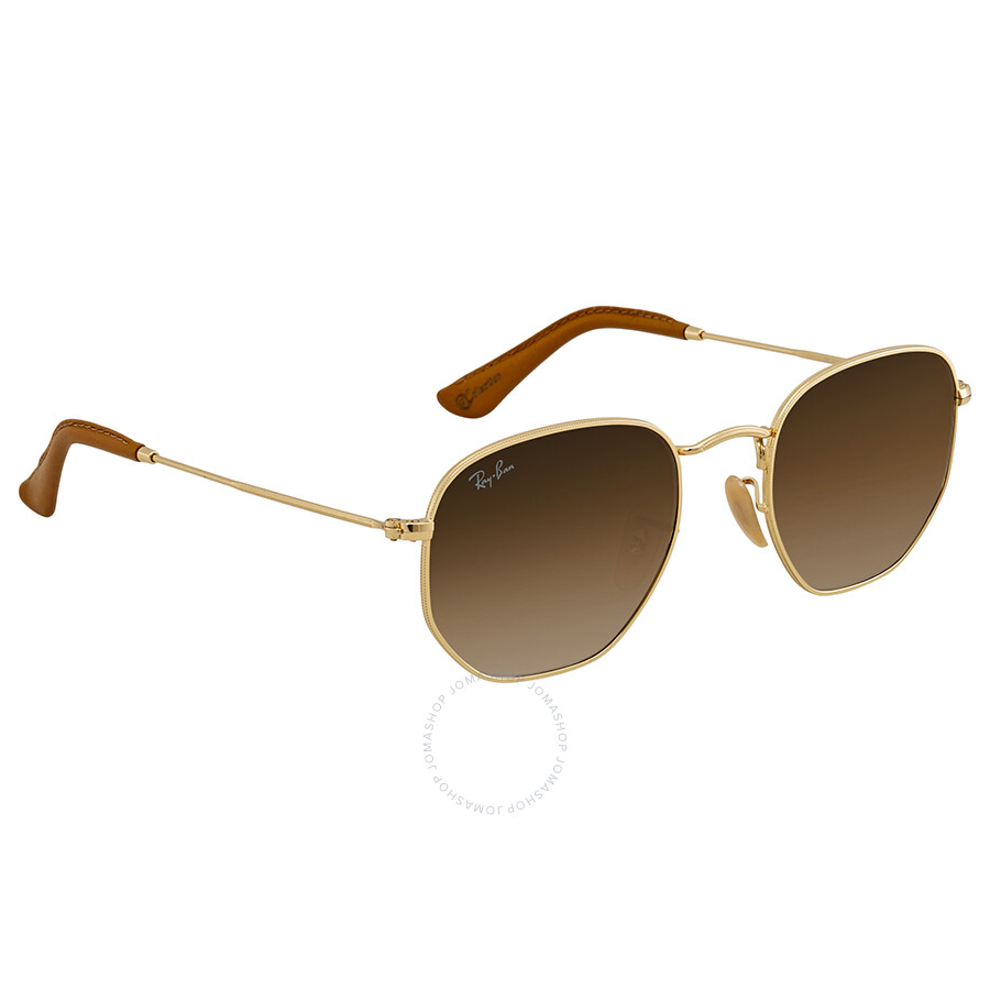 Ray Ban Hexagonal Light Brown Gradient Sunglasses RB3548N 001 51 51 ... 99f099ce8b