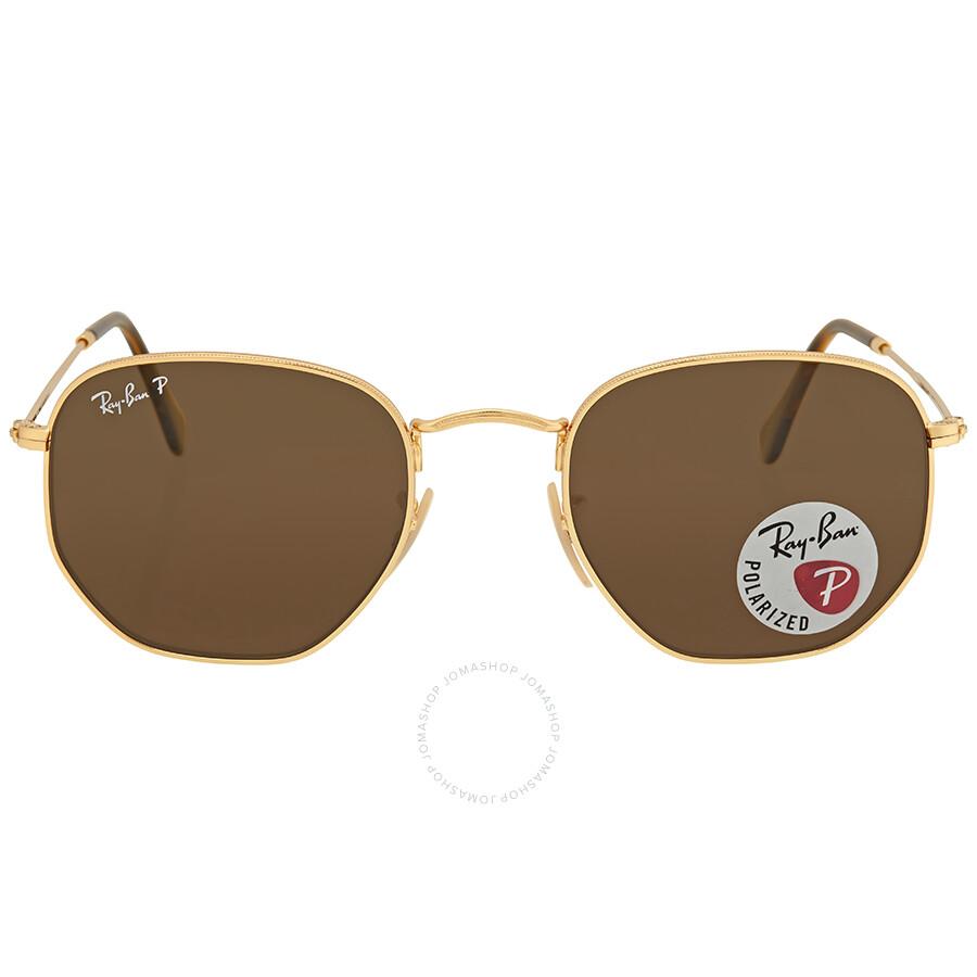 5d8cd69f97 Ray Ban Hexagonal Polarized Brown Classic B-15 Men s Sunglasses RB3548N  001 57 51 ...
