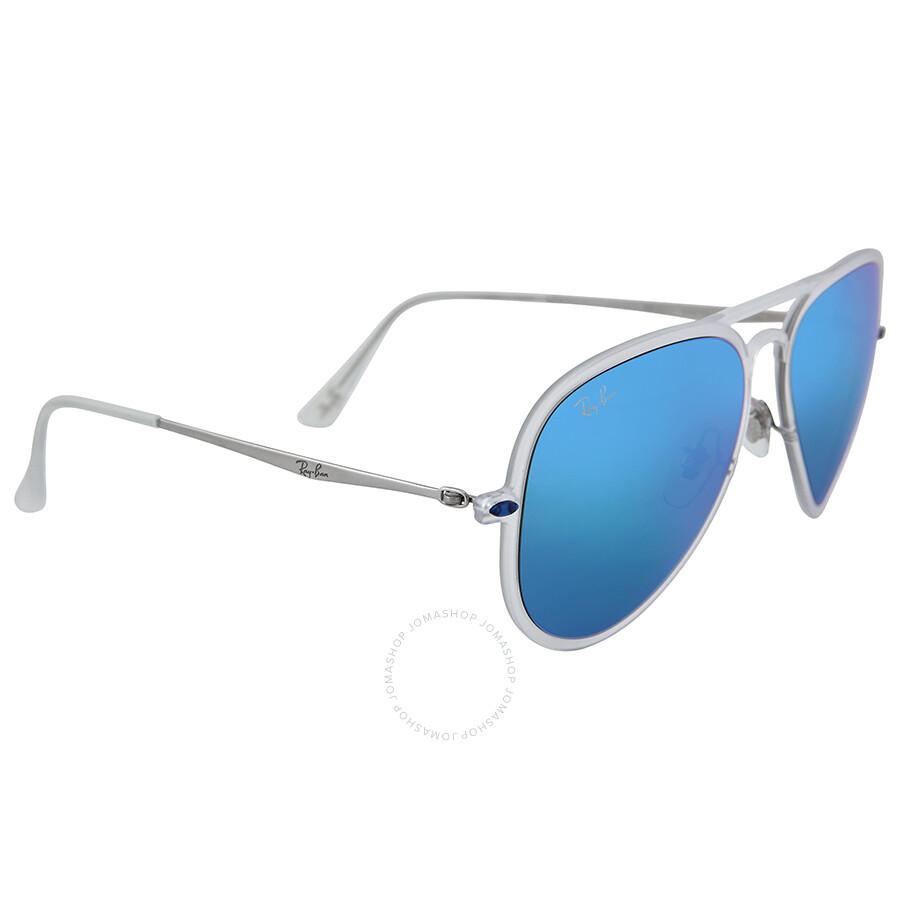 Ray Ban New Aviator Light Ray Ii Blue Mirror Lenses 56 Mm