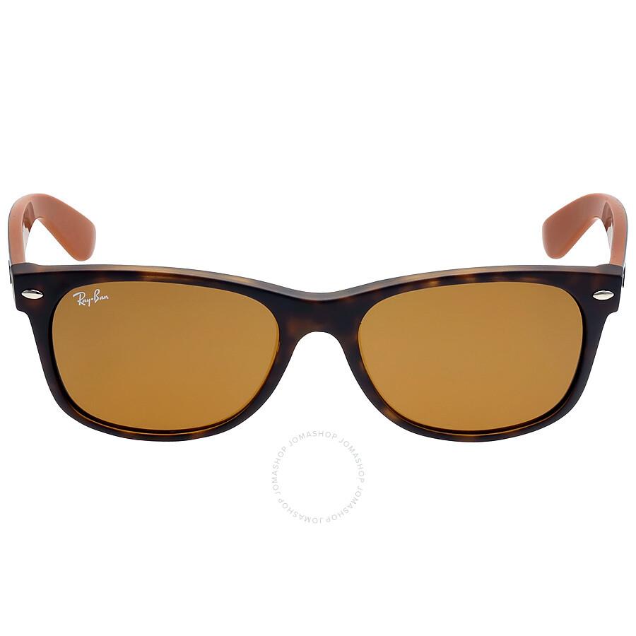 81eb148c451 Ray Ban New Wayfarer Bicolor Brown Classic B-15 Sunglasses RB2132 6179 55  ...