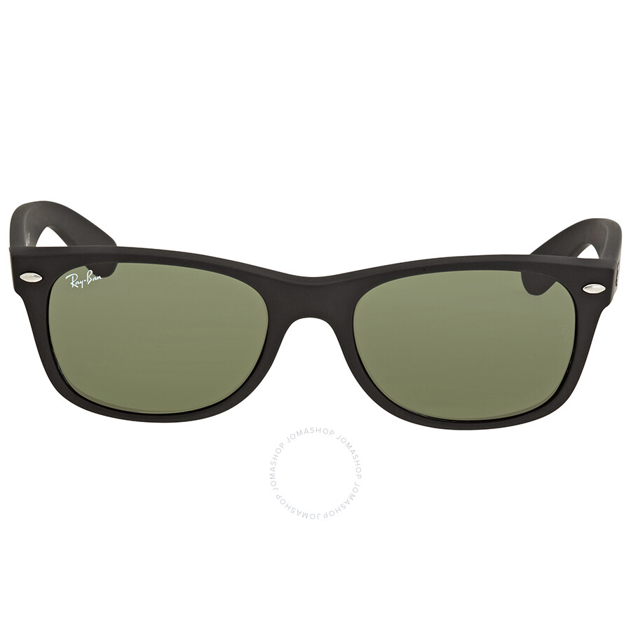 5d1b6f2d364 Ray Ban New Wayfarer Black Plastic Green Crystal 52mm Sunglasses RB2132 622  52-18 ...