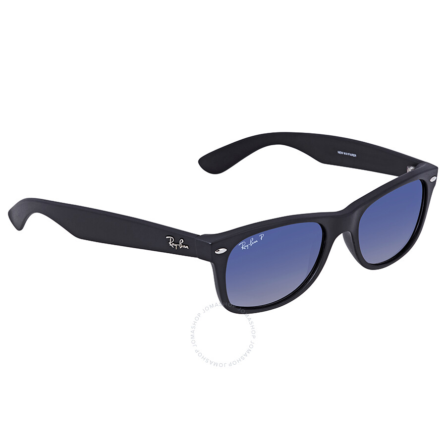 c7f03e9334 Ray-Ban New Wayfarer Classic Polarized Blue Grey Black Nylon Sunglasses  RB2132 601S78 52- ...