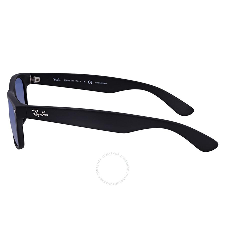 d91f0bc34b ... Ray-Ban New Wayfarer Classic Polarized Blue Grey Black Nylon Sunglasses  RB2132 601S78 52-