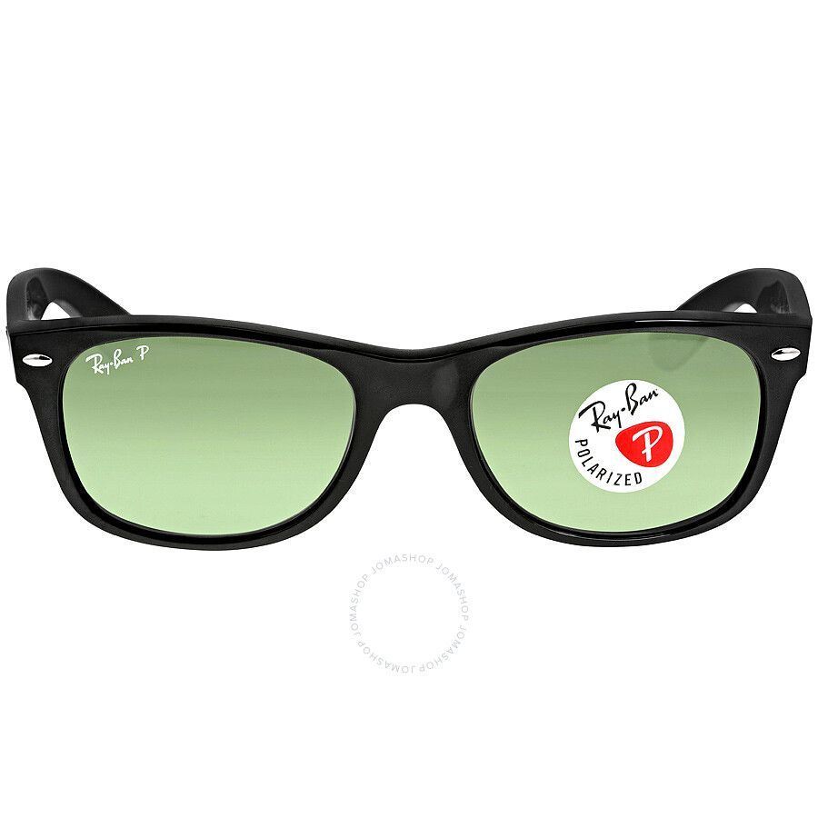 black ray ban wayfarer polarized  Ray-Ban New Wayfarer Polarized Black/Green 52mm Sunglasses RB2132 ...