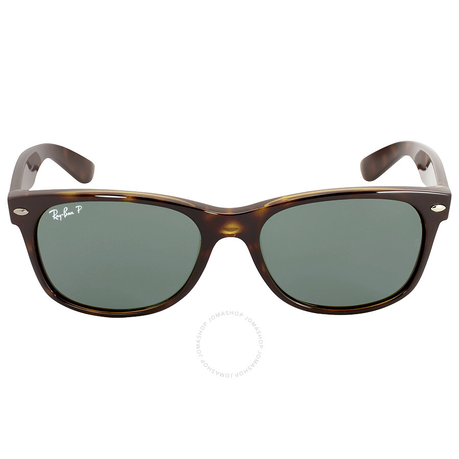 54abf26e19 Ray Ban New Wayfarer Polarized Green Sunglasses RB2132 902 58 55-18 ...