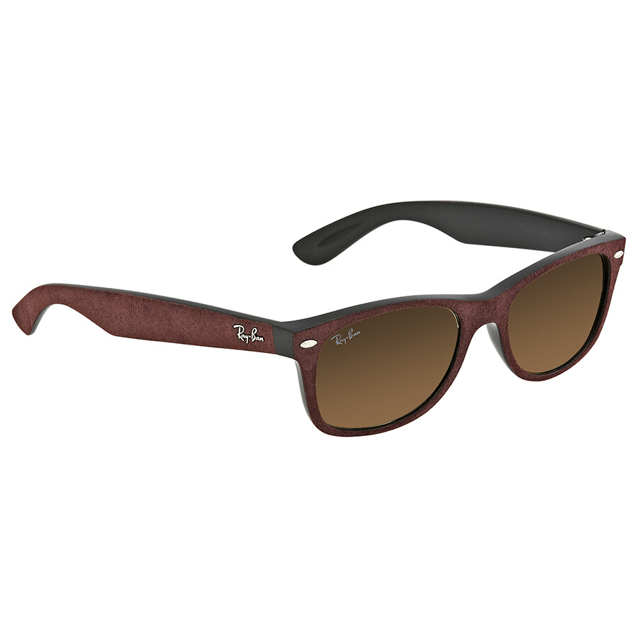 9d97058b658 Ray Ban New Wayfarer with Alcantara Brown Gradient Sunglasses RB2132 624085  52 ...