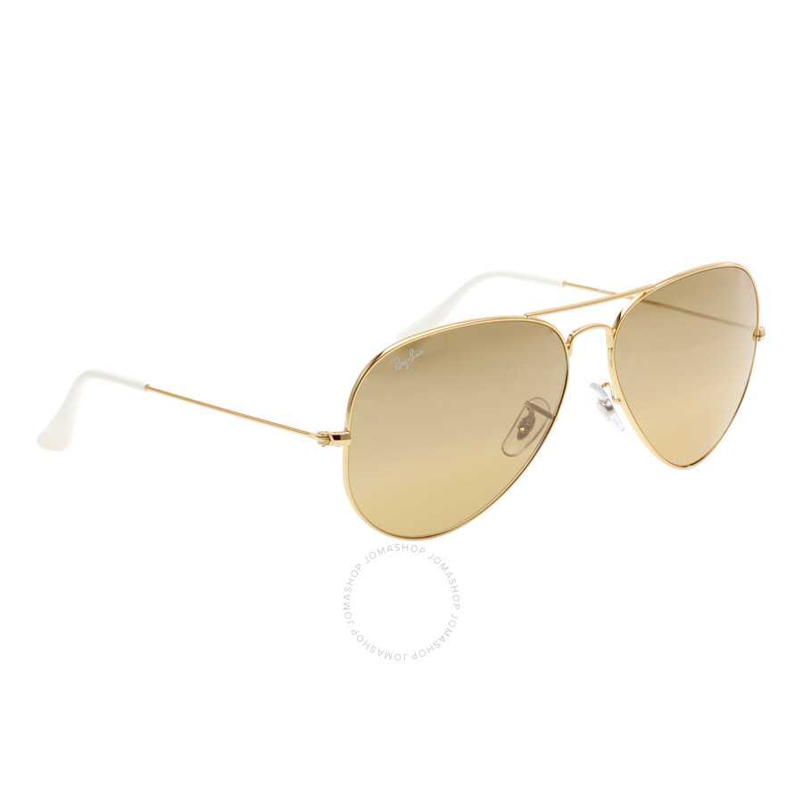 ray ban rb3025 aviator sunglasses gold frame brown gradient lens