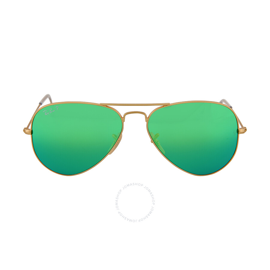2b9aaa75b21 Ray Ban Original Aviator Green Flash Polorized Sunglasses RB3025 112 P9 58-14  ...