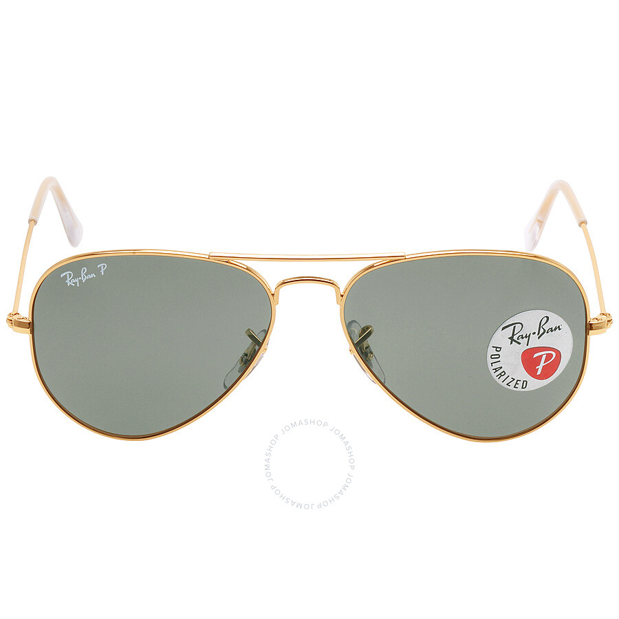 cd38b6d4a0 Ray Ban Original Aviator Green Polarized Sunglasses RB3025 001 58 55-14 ...
