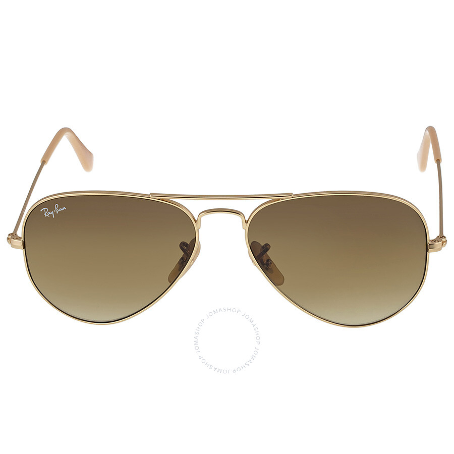 ray ban aviator 55  Ray Ban Original Aviator Matte Gold Brown Gradient Sunglasses ...
