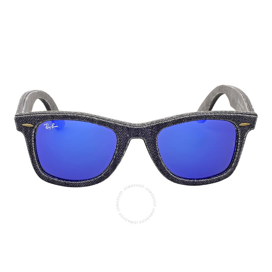 Ray ban original wayfarer denim blue mirror sunglasses for Mirror sunglasses