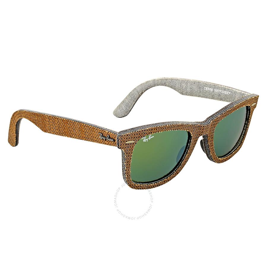 98c87546d8 ... Ray-Ban Original Wayfarer Denim Green Mirror Sunglasses RB2140 11912X  50 ...