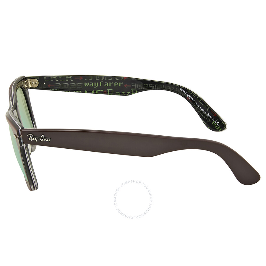 c18f06f60f ... Ray Ban Original Wayfarer Pixel Green Mirror Sunglasses RB2140 12022X  50 ...