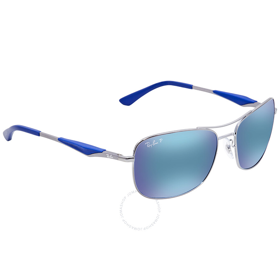 79a7752ae3 Ray Ban Polarized Blue Flash Square Sunglasses RB3515 004 9R 61 ...