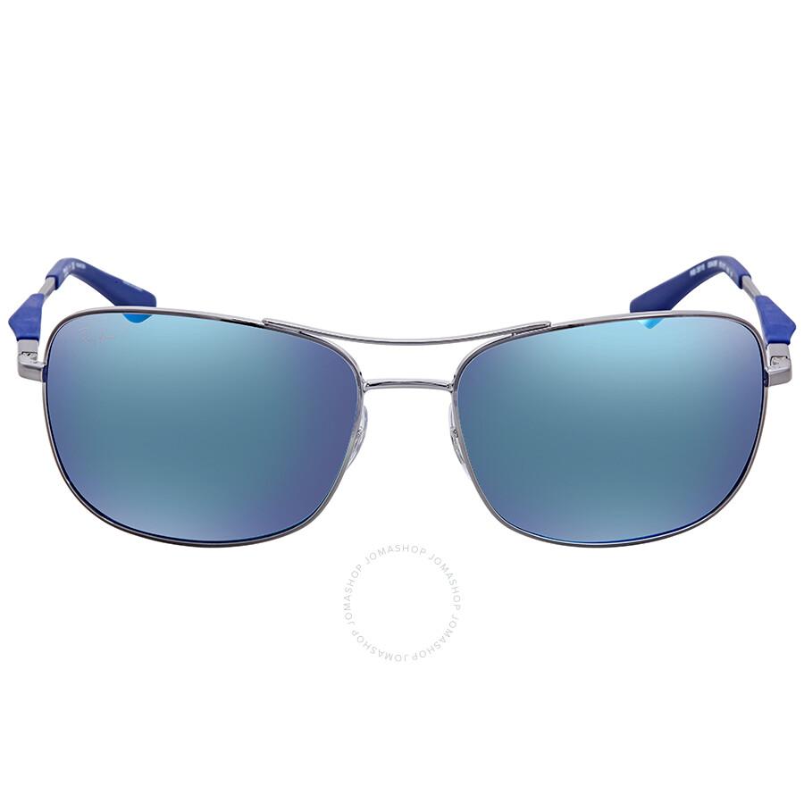 e05e00beb9 ... Ray Ban Polarized Blue Flash Square Sunglasses RB3515 004 9R 61 ...
