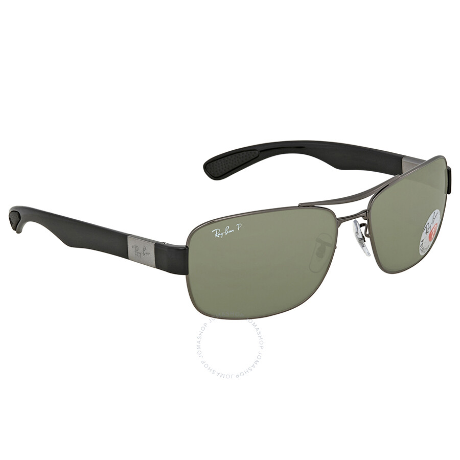 307010bb6f Ray Ban Polarized Green Classic G-15 Rectangular Men s Sunglasses RB3522 004  9A 61 ...