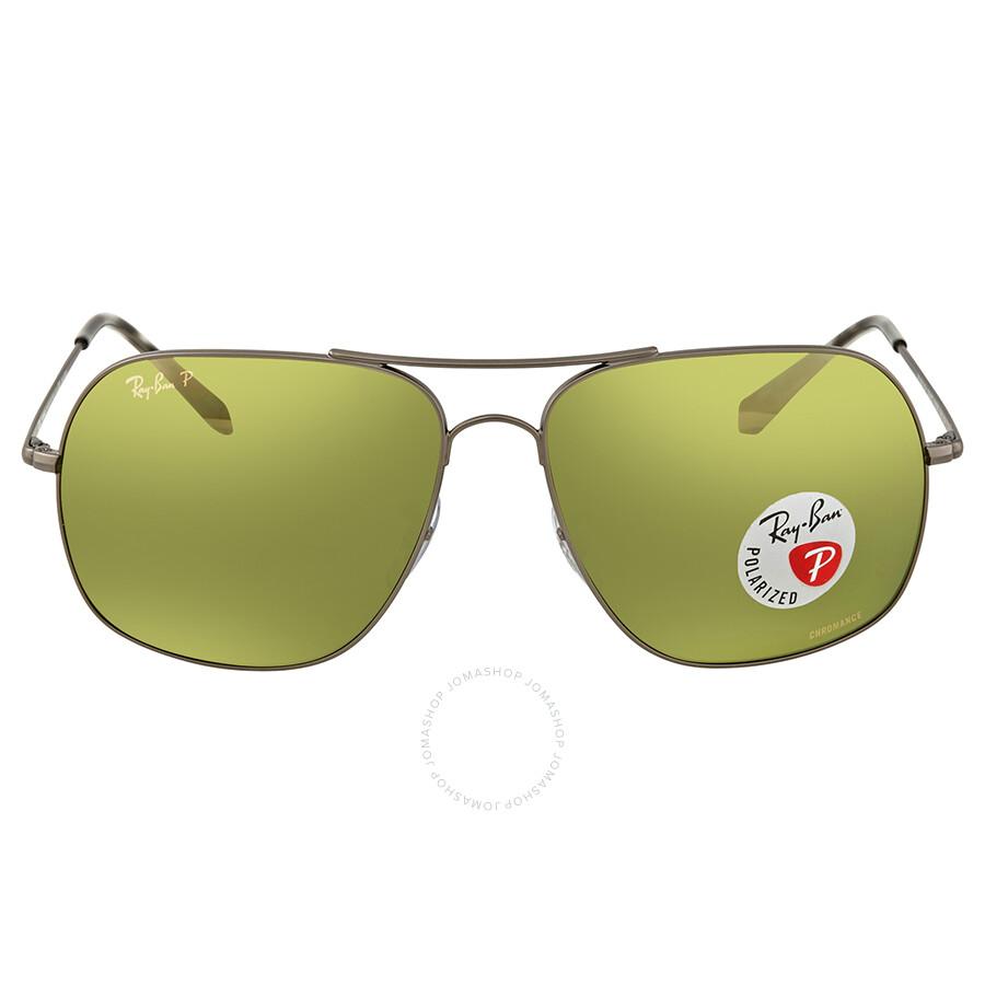 ce0c46d654b ... Ray Ban Polarized Green Mirror Chromance Square Sunglasses RB3587CH 029 6O  61 ...