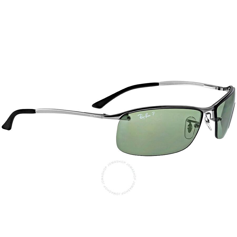 ray ban semi rimless polarized sunglasses  ray ban rectangle semi rimless polarized sunglasses rb3183 004 9a 63