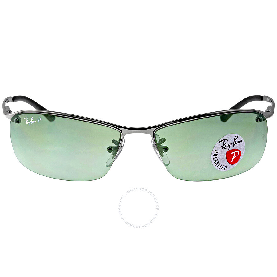 76558db0782 Ray-Ban Rectangle Semi-Rimless Polarized Sunglasses RB3183-004-9A-63 ...