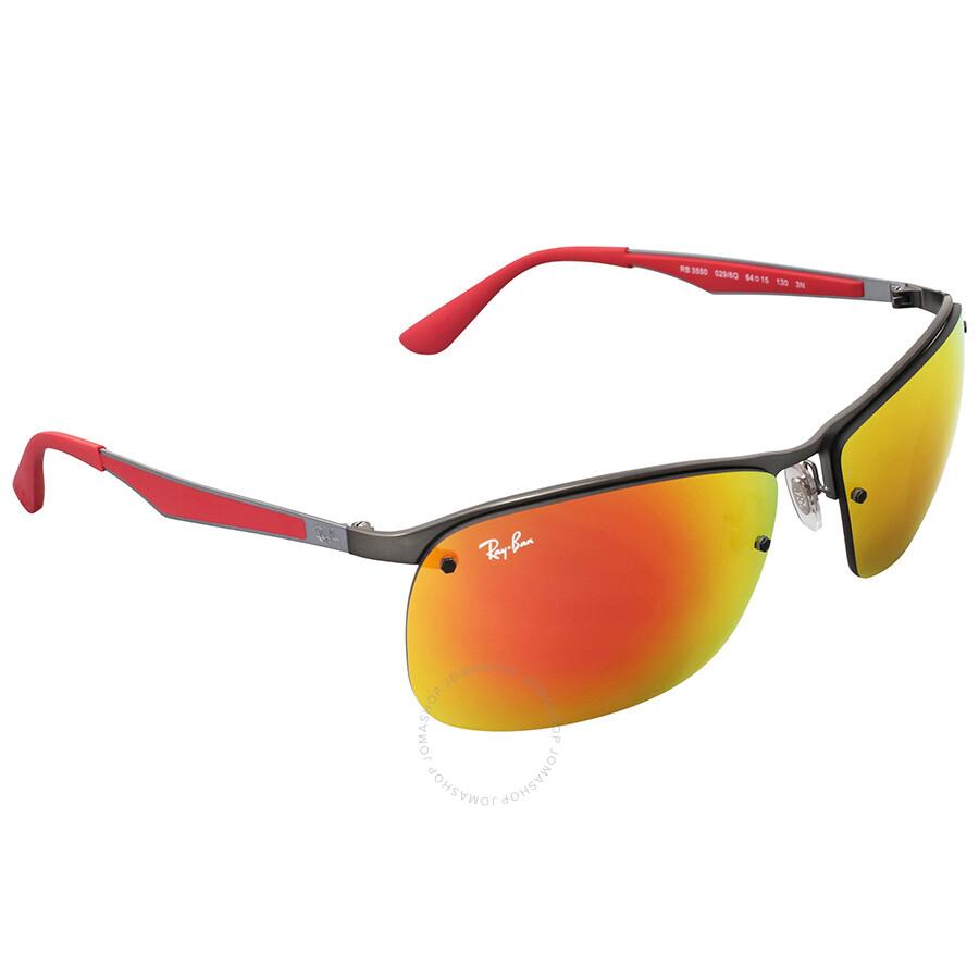 Ray ban rectangular red mirror sunglasses ray ban for Mirror sunglasses