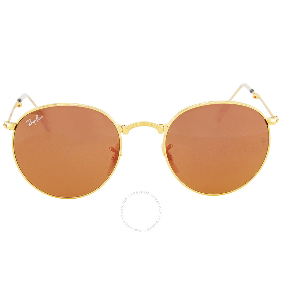 0955cf72112 Ray Ban Round Copper Flash Gold Tone Sunglasses Item No. RB3532 001 Z2 50