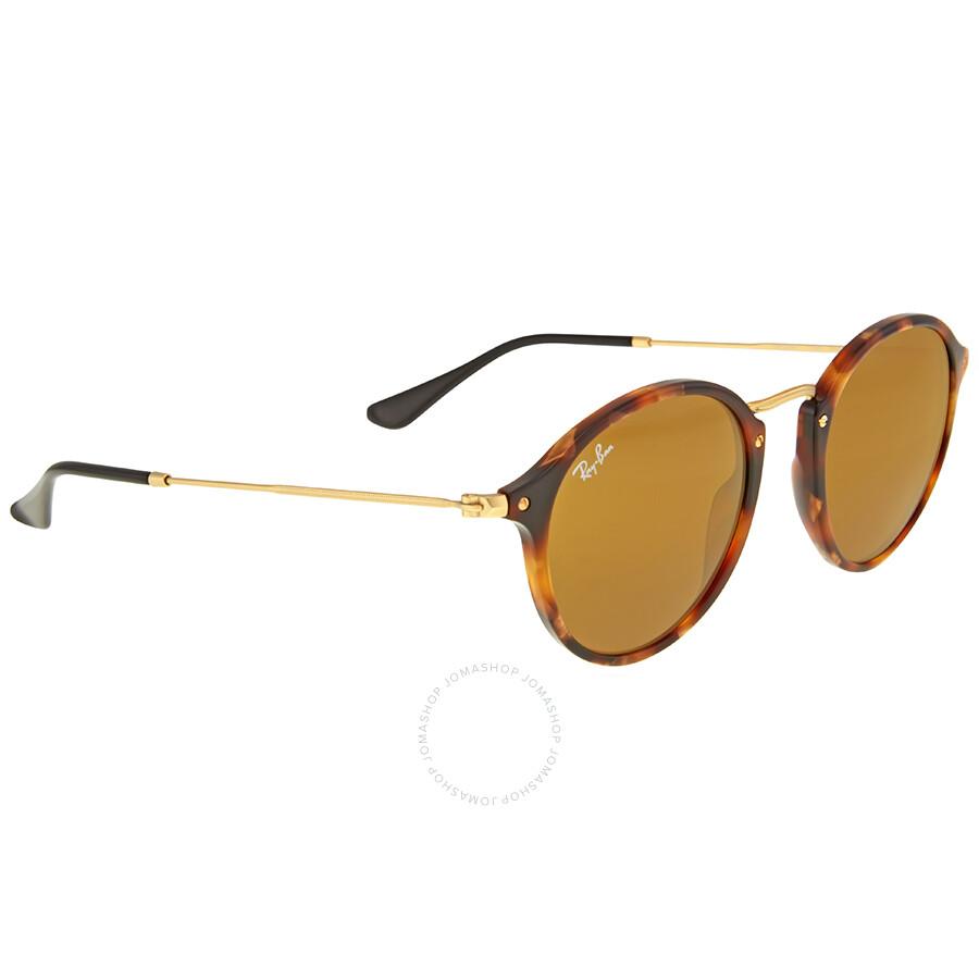 50d2bf1bf7 Ray Ban Round Fleck Brown Classic B-15 Sunglasses RB2447 1160 49 ...
