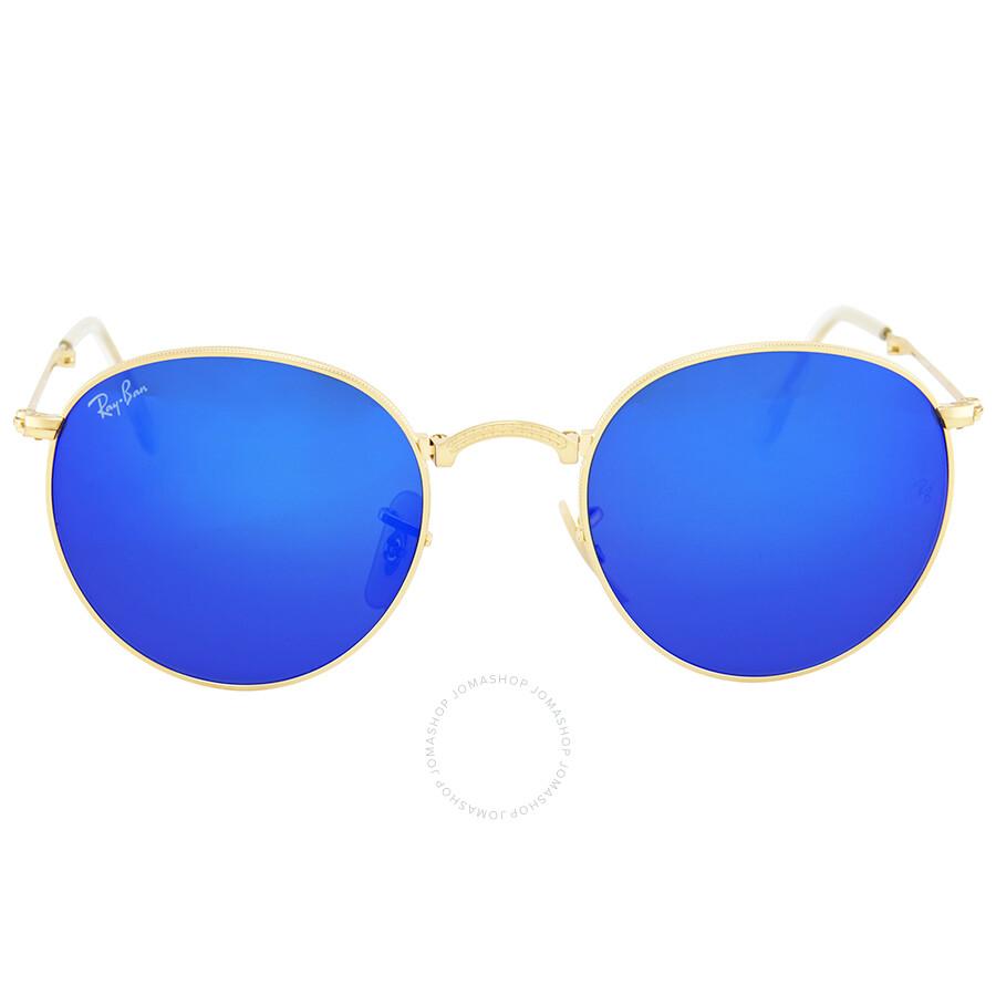 343f549df64a9 Ray Ban Round Metal Folding Blue Mirror Sunglasses RB3532 001 68 50 ...