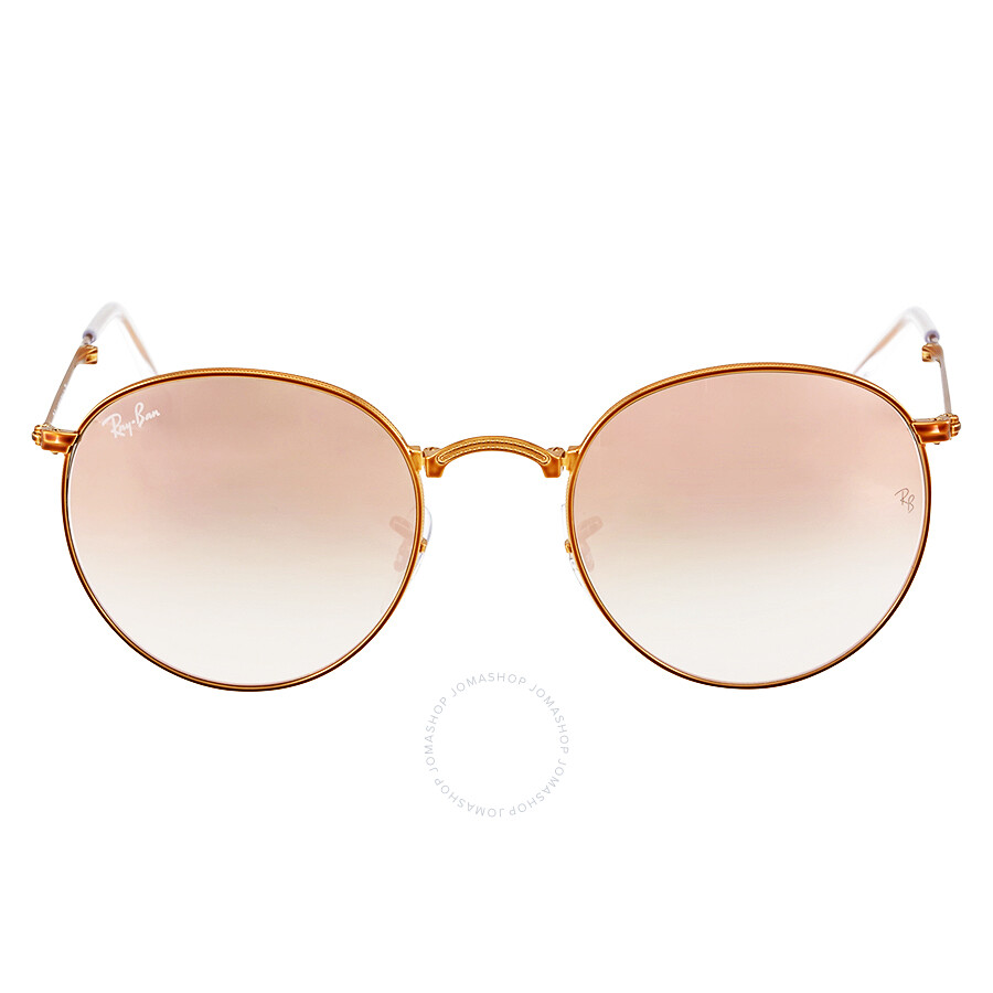 ray ban round sunglasses  Ray Ban Round Metal Folding Copper Gradient Flash Sunglasses ...