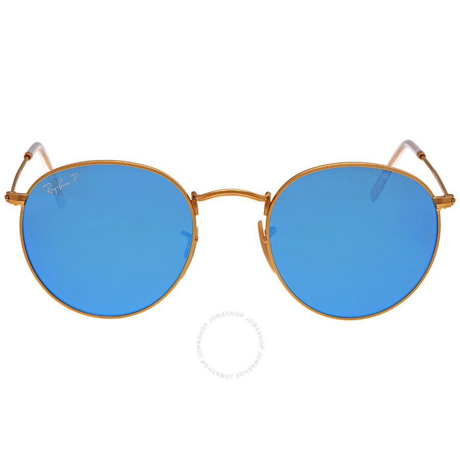 af87d0f98f Ray-Ban Round Polarized Blue Flash Sunglasses RB3447-112-4L-50-21 ...
