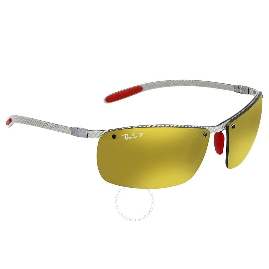 0a322d3096 Ray Ban Scuderia Ferrari Polarized Gold Mirror Chromance Rectangular  Sunglasses RB8305M F0066B 64 ...