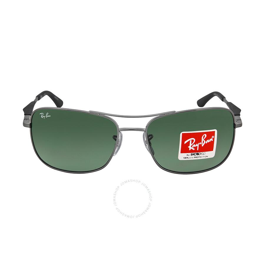 5fbd518546c69 Ray Ban Square Gunmetal Frame Green Lenses Sunglasses RB3515-58-004-71 Item  No. RB3515 004 71 61-17