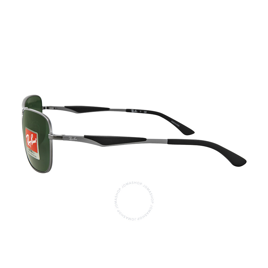 ffd6b0a2ee ... Ray Ban Square Gunmetal Frame Green Lenses Sunglasses RB3515-58-004-71  ...