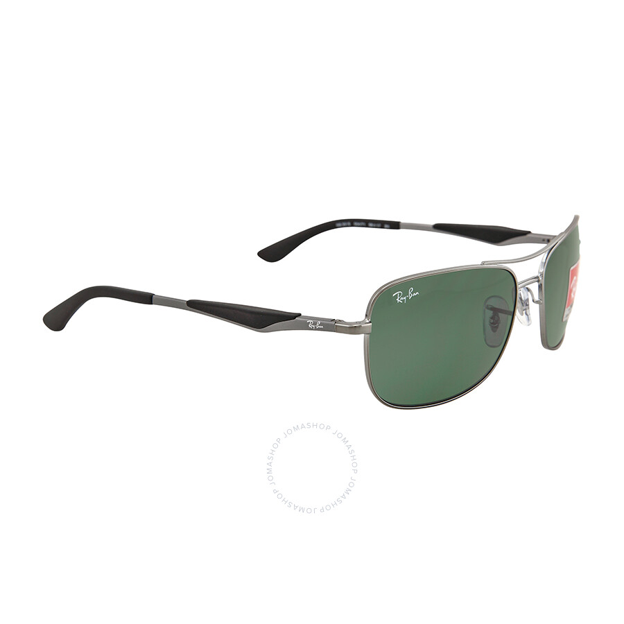 Ray Ban Square Gunmetal Frame Green Lenses Sunglasses