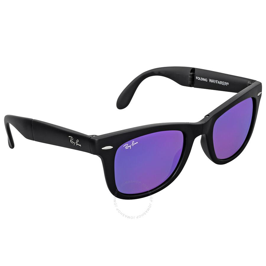 Ray ban wayfarer folding flash violet mirror sunglasses for Mirror sunglasses