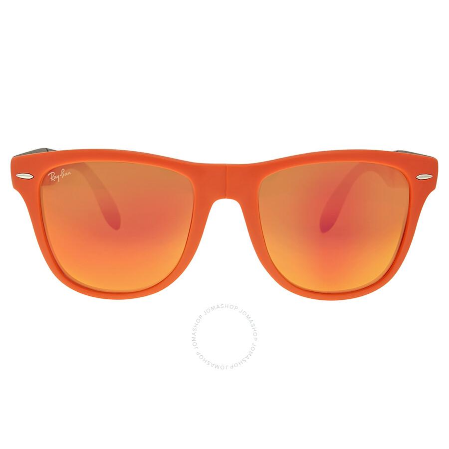 Ray Ban Wayfarer Folding Orange Flash Lenses Sunglasses