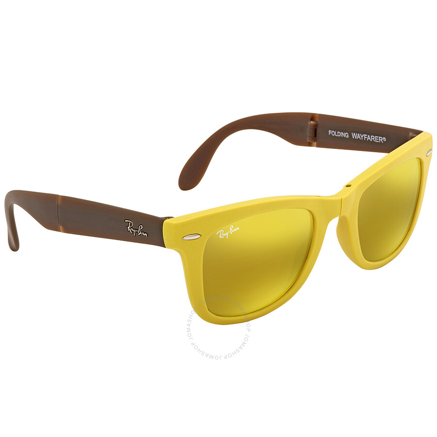 be03bf01d67 ... Ray Ban Wayfarer Folding Yellow Flash Wayfarer Sunglasses RB4105 605193  50 ...