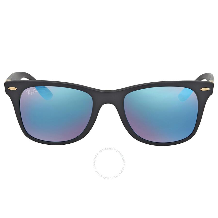 c5a9231f2d ... Ray Ban Wayfarer Liteforce Blue Mirror Sunglasses RB4195 631855 52 ...