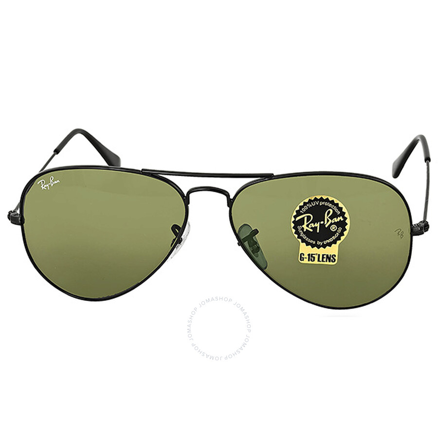 1ed77e6bc2 Ray-Ban Aviator Black Green Sunglasses RB3025 L2823 - Aviator - Ray ...