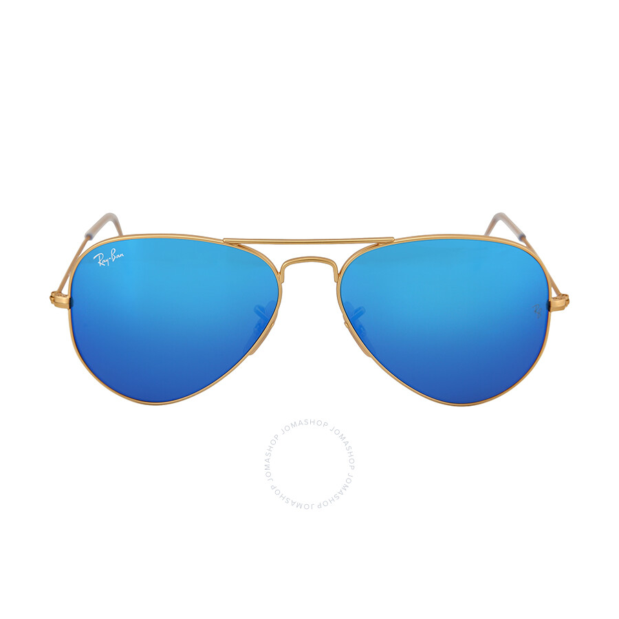 55mm Aviator Sunglasses  ray ban aviator gold metal frame blue mirror crystal lens 55mm