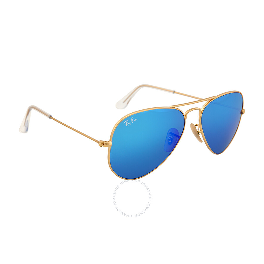 Ray Ban Rb3025 Aviator Sunglasses  ray ban aviator gold metal frame blue mirror crystal lens 55mm
