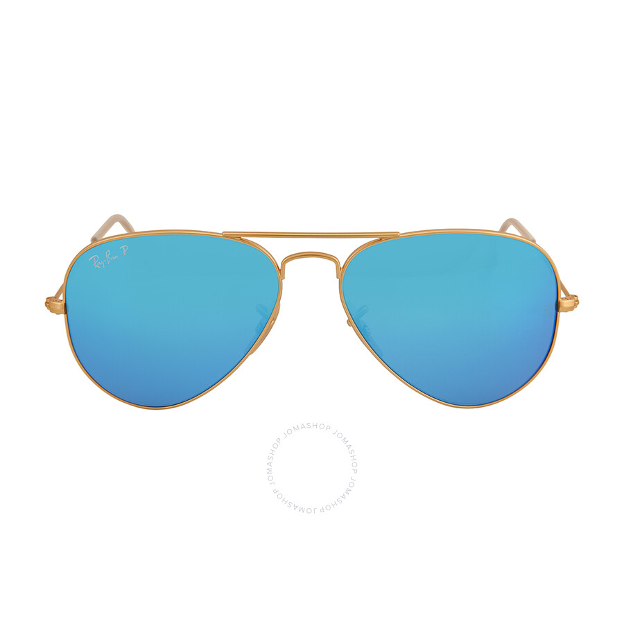 blue raybans k176  Ray-Ban Aviator Gold Metal Frame Blue Mirror Polarized Crystal Lens 55mm  Men's Sunglasses RB3025