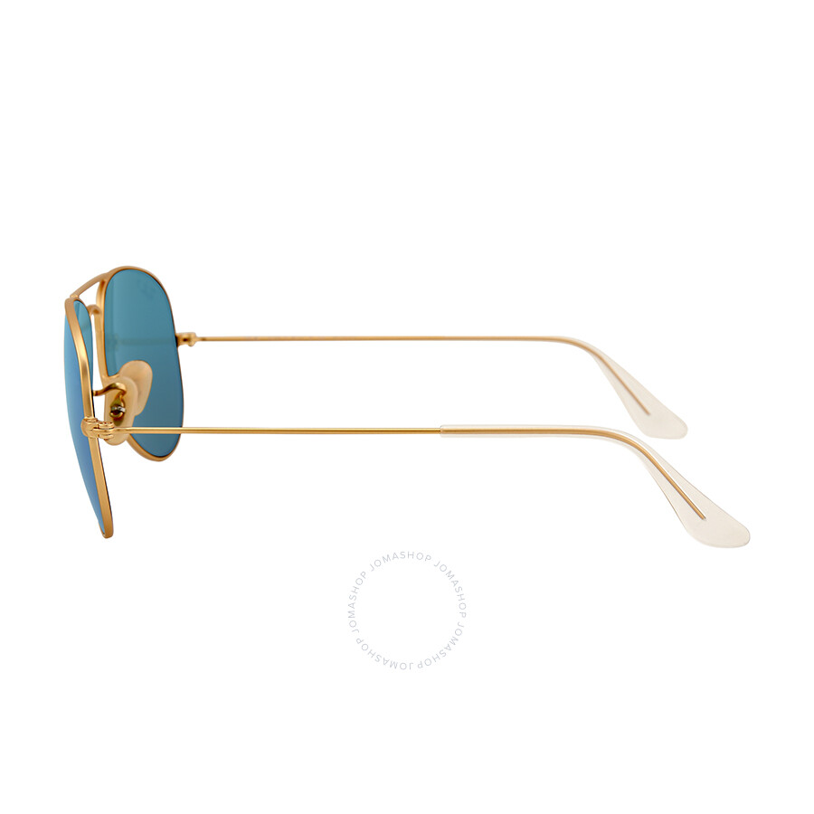 ray ban aviator 55mm polarized  Ray-Ban Aviator Gold Metal Frame Blue Mirror Polarized Crystal ...