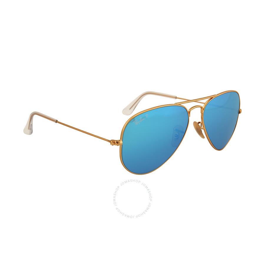 Aviator Sunglasses Gold Frame Crystal Blue Lens : Ray-Ban Aviator Gold Metal Frame Blue Mirror Polarized ...
