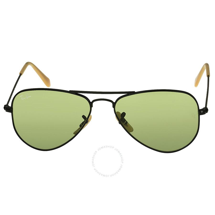 ray ban aviators black frame green lens