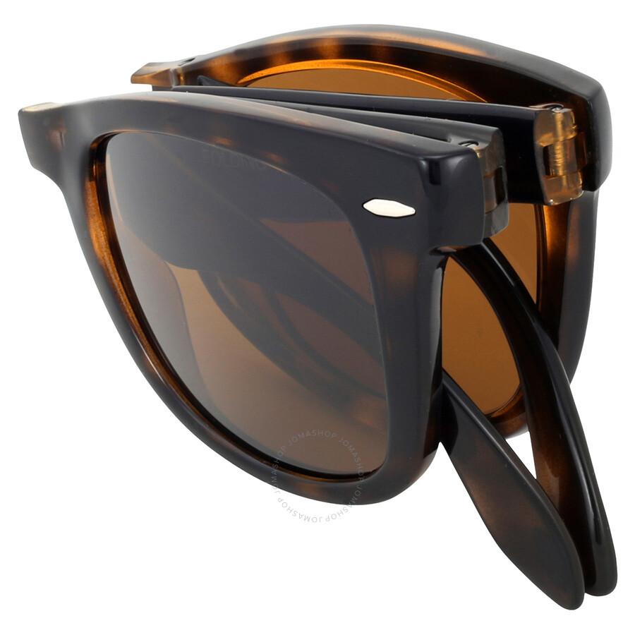 de19bac2e823e Rayban Folding Wayfarer Light Havana Tortoise Resin Sunglasses RB4105-50-710