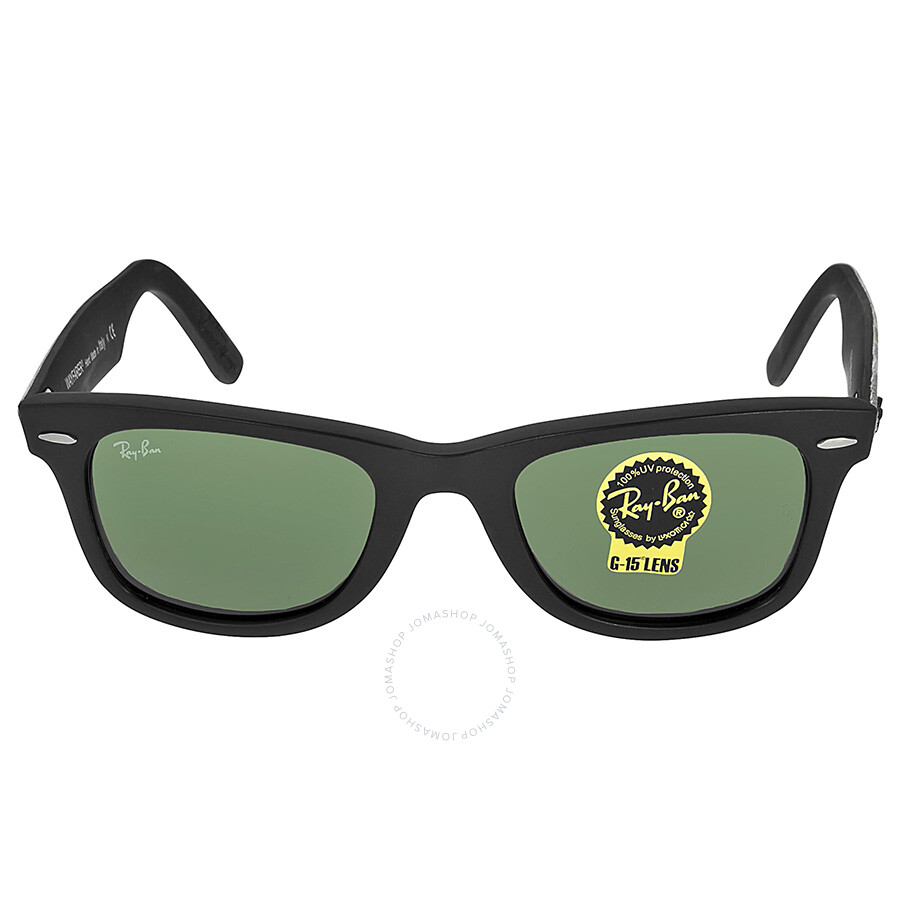 ray ban g15 glass or polycarbonate  g15 lens glass or plastic; ray ban ray ban original wayfarer matt black and green plastic frames 50mm sunglasses rb2140 50