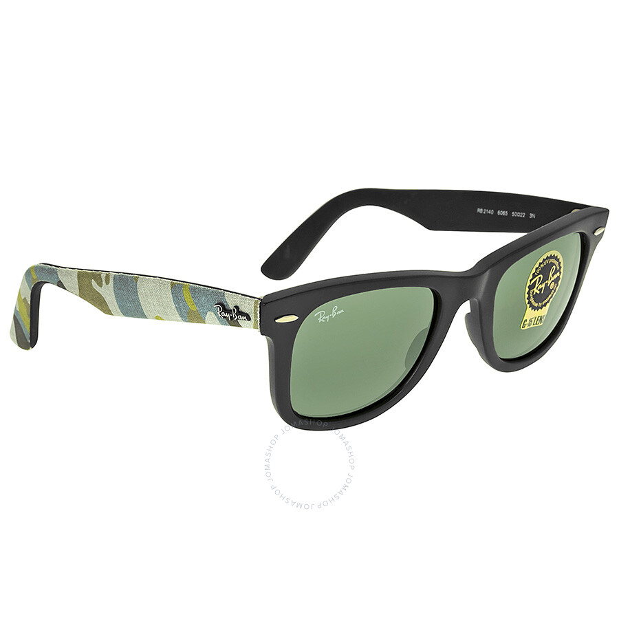 8a1ab153b8 ... Ray-Ban Original Wayfarer Matte Black and Green Plastic Frames 50mm  Sunglasses RB2140-50 ...