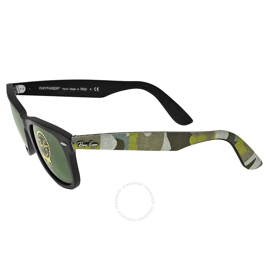 4e3d73fc0f610f ... Ray-Ban Original Wayfarer Matte Black and Green Plastic Frames 50mm  Sunglasses RB2140-50 ...