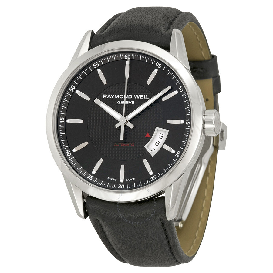 Raymond weil freelancer automatic black dial black leather men 39 s watch 2730 stc 20021 for Raymond watches