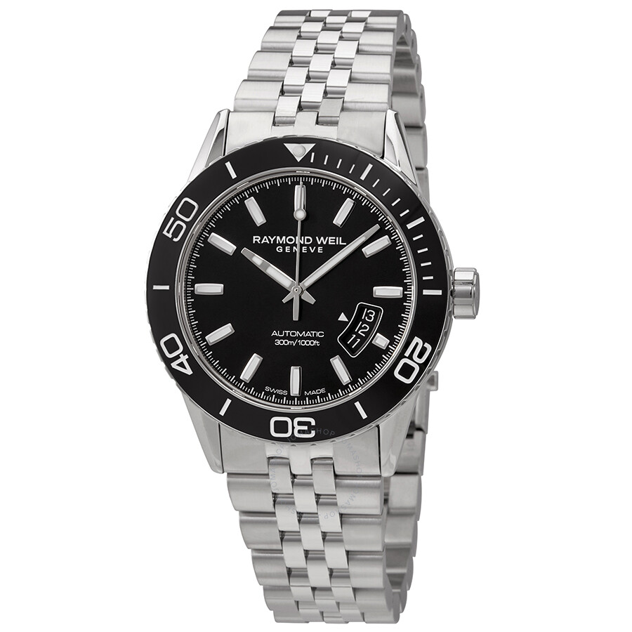6bee7213b Raymond Weil Freelancer Black Dial Automatic Men's Stainless Steel Watch